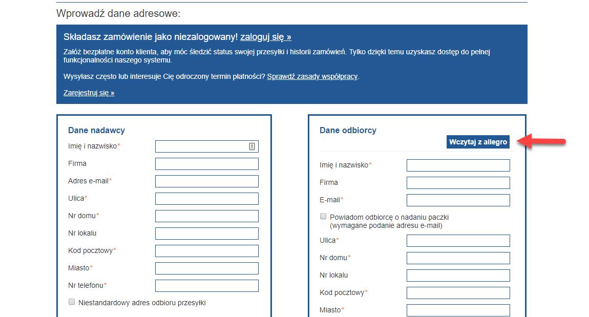 Opcja wczytywania danych adresata z Allegro
